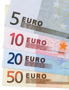 Close up colorful Euros cash notes. Stock Images