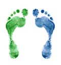 Close up of colorful foot prints isolated Royalty Free Stock Photo