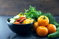 Close Up of colorful salad from tomatoes, cucumbers, peppers and Royalty Free Stock Photo