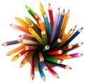 Close up colour pencils in white ceramic cup Royalty Free Stock Photo
