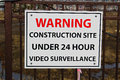Close up of a construction site surveillance sign Royalty Free Stock Photo