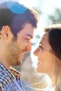 Close up of couple looking at each other. Royalty Free Stock Image