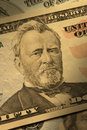 Close-up de Ulysses S. Grant na conta $50 Imagens de Stock Royalty Free