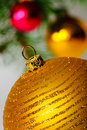 Close up decorative ball on the Christmas tree. Stock Photos