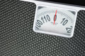 Close up detail black weight scale. Royalty Free Stock Photo