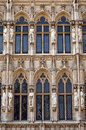 Close up detail of brussels town hall city hall in grand place the architectural located Royalty Free Stock Photos