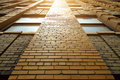 Close up detail of building with red brick wall Royalty Free Stock Photo