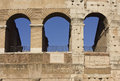 Close up detail of the external walls of Colosseum Royalty Free Stock Photo
