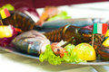 Close Up detail of Metal tray of fish and crustaceans, lobster, Royalty Free Stock Photo