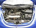 Blue Modern Car Engine Bay.