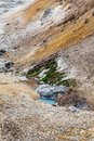 Close up detail of Noboribetsu Jigokudani Hell Valley: The volcano valley got its name from the sulfuric smell. Royalty Free Stock Photo