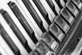 Close-up detail of a very old accordion in black and white abstr Royalty Free Stock Photo