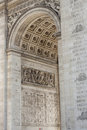 Close up details the arc de triomphe in paris france Royalty Free Stock Photography