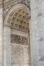 Close up details the Arc de Triomphe in Paris Royalty Free Stock Photo