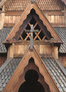 Close-up details of Norwegian stave church. Stock Photos