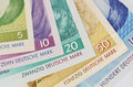 Close up of deutsche mark old german currency banknotes Royalty Free Stock Images