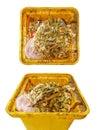 Close up dirty yellow garbage bin Royalty Free Stock Photo