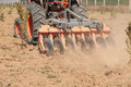 Close up of a disc harrow system, cultivate the soil