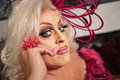 Close up of drag queen serious in blond Royalty Free Stock Photo