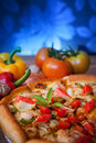 Close up on dressing of sea food pizza vertical form for multipurpose Royalty Free Stock Photo