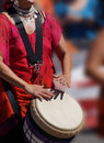 Close up of drumming by woman in bright clothes penticton british columbia canada Stock Images