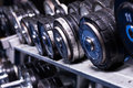 Close up of dumbells in gym Royalty Free Stock Photos