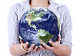 Close up of earth in woman s hands business holding d image on white Stock Photo