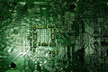Close-up of electronic circuit board with processor Royalty Free Stock Photo