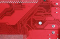 Close-up of electronic circuit red board background Royalty Free Stock Photo