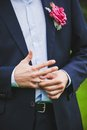 Close up of elegance man hands with ring and cufflink Royalty Free Stock Photo