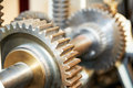 Close-up of engine gears on shaft Royalty Free Stock Photo