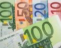 Close up of euro banknotes with euros in focus Royalty Free Stock Image