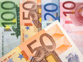 Close up of Euro banknotes with 50 Euros in focus Royalty Free Stock Photo