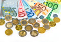 Close-up of euro currency. coins and banknotes Stock Photo