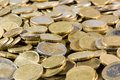 Close up of euros coins heap Royalty Free Stock Photo