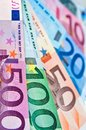 Close up of euros money banknotes Royalty Free Stock Photo