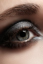 Close up eye with gray make up and silver glitter elegance of female dark eyeshadow macro shot of beautiful womans face part Stock Photos