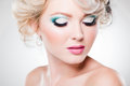 Close-up of eye make-up on beautiful woman Royalty Free Stock Images