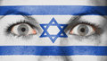Close up of eyes with flag painted face israel Stock Photos