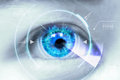 Close up eyes of technologies in the futuristic. : contact lens Royalty Free Stock Photo