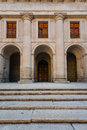 Close up facade church in the royal site of san lorenzo de el e view and starway escorial next to madrid spain Stock Images