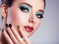 Close up face of a beautiul woman with creative make up green Royalty Free Stock Images