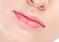 Close-up face of beauty young woman. Lips zone Stock Photo