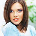 Close up face portrait of young beautiul woman casual clothes Royalty Free Stock Photos