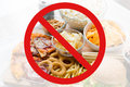 Close up of fast food snacks behind no symbol