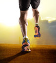 Close up feet with running shoes and strong athletic legs of sport man jogging in fitness training sunset workout Royalty Free Stock Photo