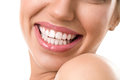 Close up  of female face with a clean white teeth Royalty Free Stock Photo