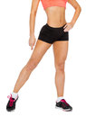 Close up of female legs in sportswear fitness exercising and dieting concept Stock Photography