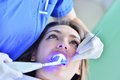 Close-up of female with open mouth during oral checkup at the dentist.