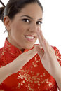 Close up of female showing karate gesture Royalty Free Stock Images